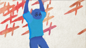 A drawn human figure stretching their body across a marked background