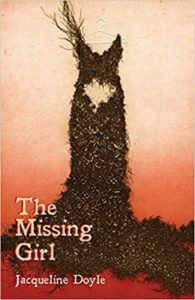 "Cover of ""The Missing Girl""- pale orange melts into a deep red, a black dress hangs from a white hanger, a piece cut out from its center"